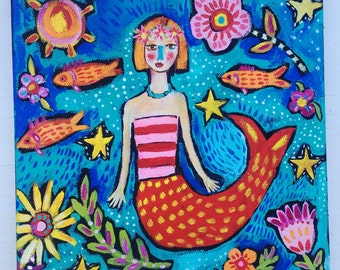 Small folk art mermaid painting on canvas ready to hang