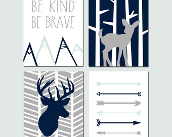 Navy Mint Deer Nursery Art Set of 4 Prints for Baby Boy - Woodland Deer Nursery Art, Arrow Nursery Art, Bravery Quote - CHOOSE YOUR COLORS
