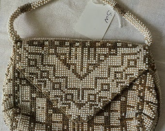 Lovely Little Beaded Bag, White and Champagne Beads, Clutch, Handbag, Mirror, Lined, Wedding, Prom