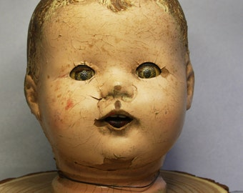 Large Vintage Composition Doll Head- Creepy Eyes- Scary Doll Part- Antique Doll- J03