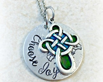 Christian Necklace, Choose Joy Necklace, Celtic Cross Necklace, Christian Jewelry, Celtic Cross Jewelry, Religious Necklace