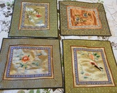 4 EMBROIDERED SATIN BLOCKS Bird Butterfly Dragonfly Flowers Asian Geo Designs Old China Silk Embroidery, Quilt Pillow Purse Frame Unused