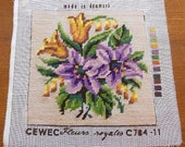 """Reserved LILY & TULIP Wool Needlepoint Canvas to Frame, Lavender Gold Green Bouquet Cream Back, Completed C78411 Fleurs Denmark 9"""" sq Cewec"""