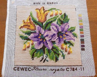 "Pretty LILIES & TULIPS Wool Needlepoint Canvas to Frame, Lavender Gold Green Bouquet Cream Back, Completed C78411 Fleurs Denmark 9"" sq Cewec"