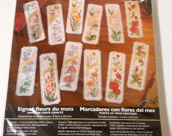 Counted Cross Stitch Bookmarks Flowers of the Month Plaid Bucilla  45571 kit New