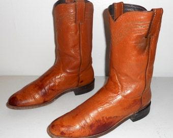 Cowboy Boots Justin Mens Size 9 C Narrow Distressed Tan Grunge Boho Western Womens 10.5