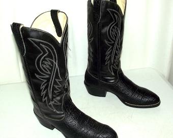 Vintage Bronco brand Black Cowboy Boots mens size 8.5 EE wide width Vegan Friendly western rockabilly