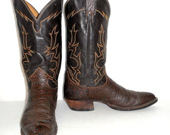 Vintage Brown Tony Lama Cowboy boots mens size 10 B Narrow Two Tone Western Rockabilly