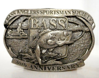 Bass Anglers Sportsman Society Belt Buckle 30th Anniversary Fishing Boat Fashion