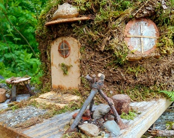 Fairy garden House, Mossy Forest Cottage, Enchanted woodland dwelling, Miniature ooak Hobbit Home