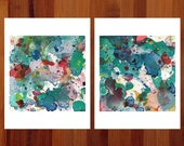 Abstract Prints, Diptych Art, Whimsical Art, Prints Illustrations, Set of 2 Prints, Abstract Watercolor Prints, Fantasy Prints, 8.5x11, Cute