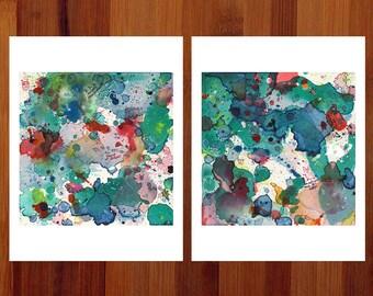 Abstract Art Set, Teal Abstract Art, Diptych Art, Abstract Watercolor Prints, Funny Dorm Wall Art, Set of 2 Prints, Fantasy Prints, 8.5x11