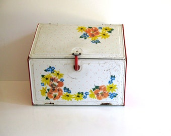 Vintage Pie Bread Box Storage Vintage Desk Organizer Red and White Metal With Flower Design