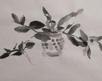 Chinese ink drawing - sketch -  black and white - calligraphic - hand drawn - ink - calligraphy like - orchid - Chinese brush painting - art