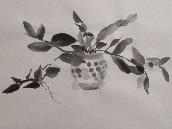 Orchid III...Chinese ink drawing, sketch, black and white, contemporary, calligraphic