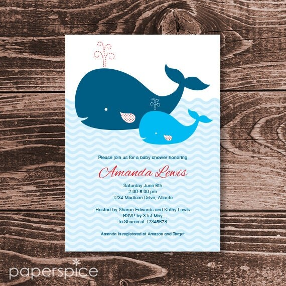 Whale Baby Shower Invitation - DIY Printable Personalized - Baby Boy (Digital File)