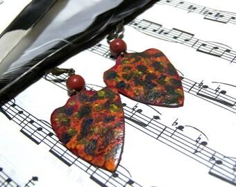 Leather Earrings Orange Shield Leather Earrings Hand Painted Wearable Art Tribal Jewelry