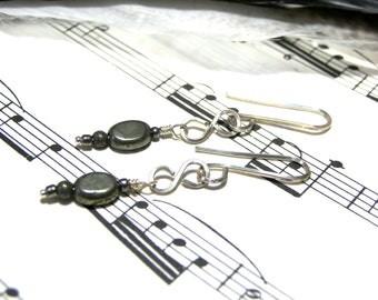 Pyrite Earrings Sterling Silver Earrings Gray Earrings Boho Jewelry Hippy Jewelry