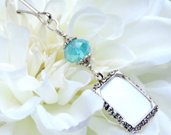 Wedding bouquet photo charm. Something blue for a bride. Memorial photo charm- aqua blue crystal. Bridal bouquet charm. Gift for the bride.