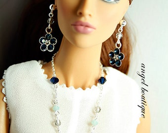 "Delicate Long Necklace Links with Swarovski Crystal fits 12"" and 16"" dolls. Set Completes with Matching Earrings."