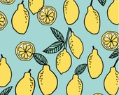 Spoonflower's Lemon Summer Citrus Fruit fabric designed by Andrea Lauren - printed on a variety of cotton fabrics - by the yard