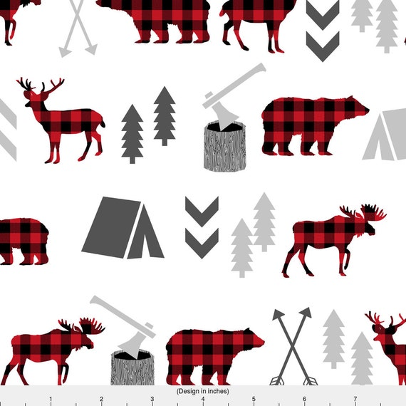 Bear Fabric Buffalo Plaid Woodland Moose Deer Forest