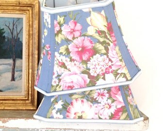 Shabby Chic Lamp Shade Lampshade Blue Vintage Floral 1940s Fabric - 9x14x10.5 Cut Corner Rectangle Bell - Pretty, Pretty Handmade Shade