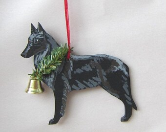 Hand-Painted BELGIAN SHEEPDOG Wood Christmas Ornament Artist Original...Nicely painted
