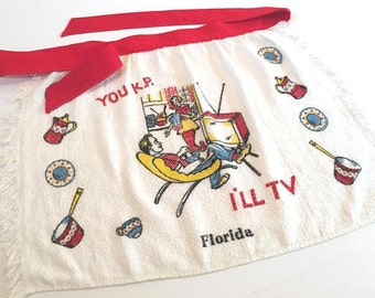 Vintage Florida apron tourist 1950s TV retro kitsch Mid Century Floridiana souvenir TV kitchen husband wife