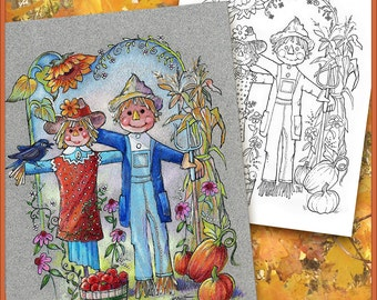 Instant Download - Autumn Fall Coloring Book Page - American Gothic Scarecrows - Greeting Card - Boho - Print on colored or white paper