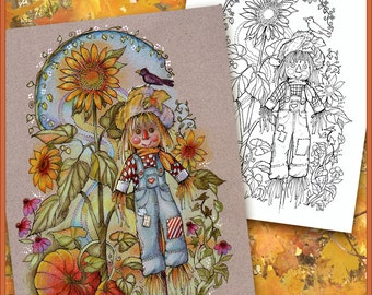 Autumn Fall Coloring Book Page  Boho Scarecrow Pumpkins Sunflower - Digital Download 3 Versions - Print on colored or white paper