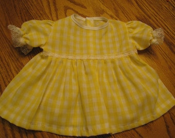 Yellow Gingham Dress and Panties for the Bitty Baby