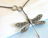 Silver Infinity Dragonfly Lariat Necklace - Infinity Necklace, Dragonfly Jewelry, Nature Jewelry