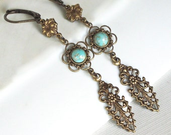 Turquoise Brass Earrings - Brass Filigree Earrings, Long Earrings  Flower Earrings, Floral Jewelry, Brass Earrings, Lightweight Earrings
