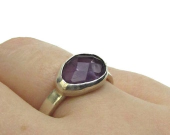 Silver Amethyst Ring - February Ring - Faceted Silver Ring  - Rose cut Gemstone Ring - Purple Gemstone Ring - Gifts for Her - Ring Size 8.5