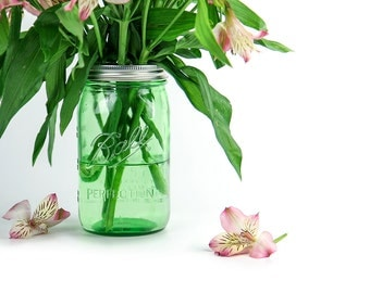 Mason Jar Vase / Large Green Ball Jar Floral Vase / Flower Holder / Vintage Style Wedding Centerpiece / Vintage Decor / Flower Arrangement