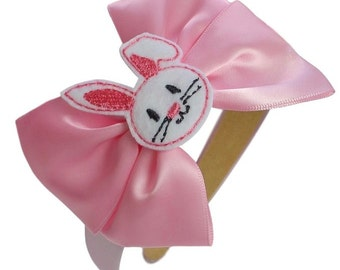 Easter Bunny Satin Bow Toddler Girls Arch Headband By Funny Girl Designs