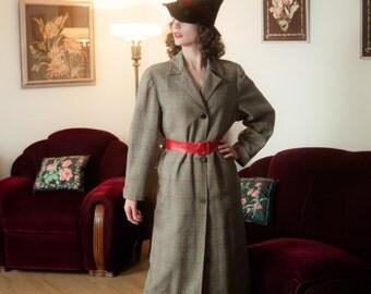 Vintage 1940s Coat - Iconic Black, Ivory and Red Herringbone Wool 40s Overcoat