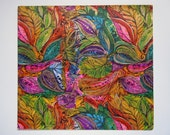 Vintage 1970s Psychedelic Glittered Any Occasion Wrapping Paper Gift Wrap Watercolor Floral Design