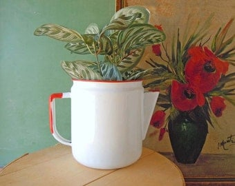Vintage Enamelware Teapot | Mid Century Red and White | Rustic Cabin Vase Farmhouse Decor