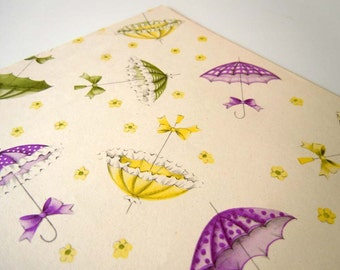 Vintage 1960s Bridal Shower Wrapping Paper   Green Purple Yellow Gift Wrap Paper   Parasols Against a White Background