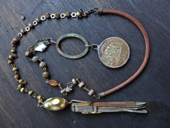 Otiose. Olive found-object lariat. Artisan assemblage jewelry, rustic victorian tribal necklace.