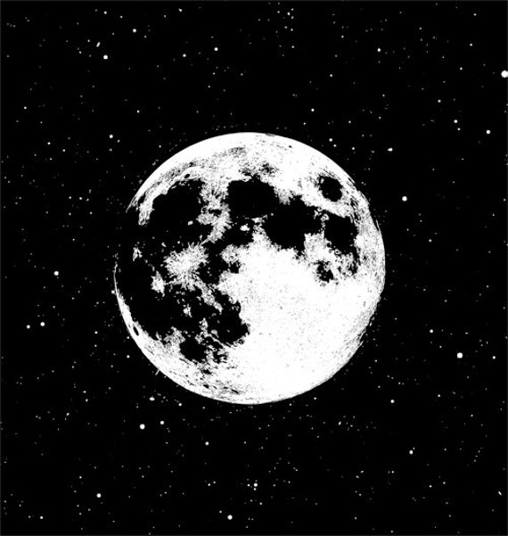 full moon night sky printable art celestial digital image download prints astronomy space graphics printables black and white art