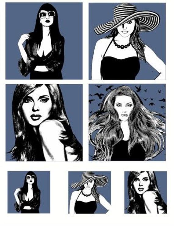 "fashion women print clip art  3.8"" inch 2 inch squares digital image download collage sheet beauty makeup printables fashion art prints"