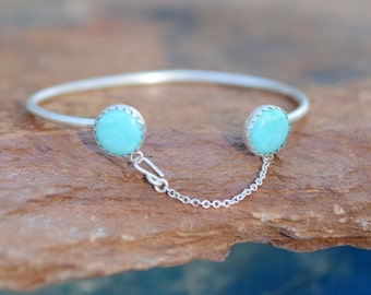 Turquoise Cuff, sterling silver, chain, matte, minimal // BANDITS BRACELET CUFF