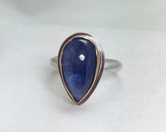 Tanzanite 14k Gold and Sterling Silver Ring, Alternative Engagement