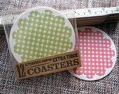 Gingham Letterpress Coasters - set of 12