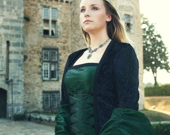 Medieval Gothic inspired Dress Black & Green Size Med Lrg Ready to wear