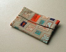 Fabric Travel Tissue Holder with a Postage Stamp, Travel Theme - Funky Tissue Cover - Quiltsy Handmade