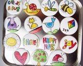 """CLOSEOUT SALE Sun Shine Magnets - 15 1.25 inch magnets 1-1/4"""" with Gift Tin"""
